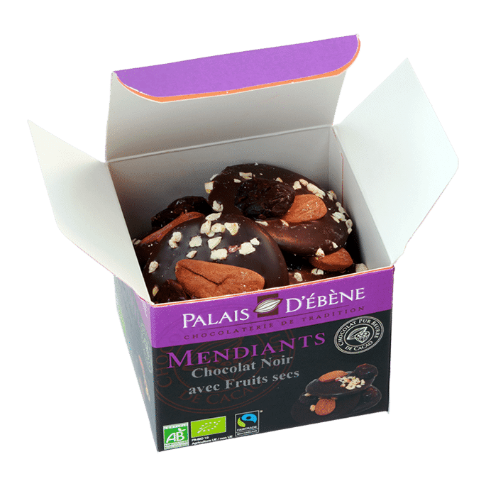 Cube Mendiant chocolat noir (boite ouverte)